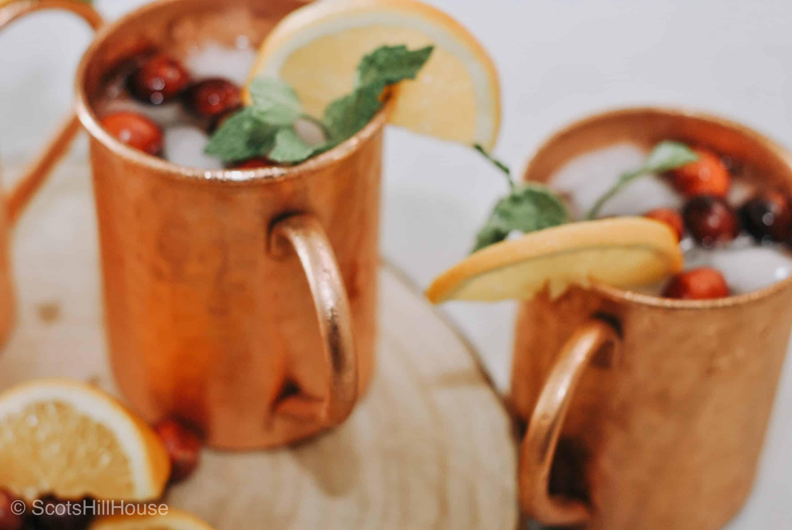 Cranberry Orange Moscow Mule Mocktail