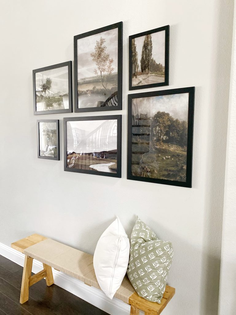 gallery wall with nature pictures