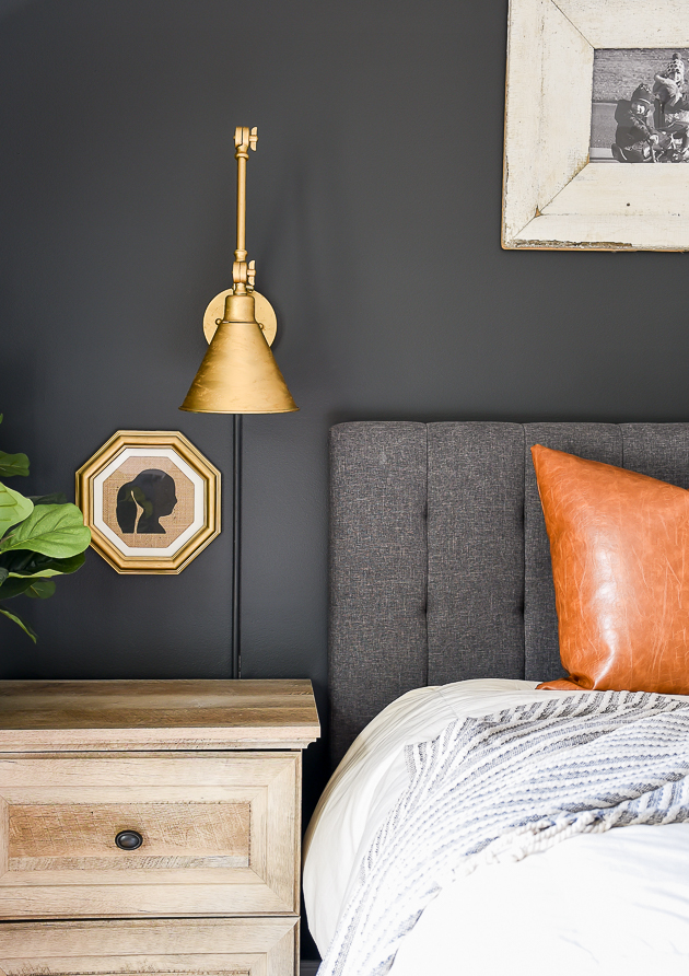 sherwin Williams Iron Ore accent wall with grey headboard and leather pillow