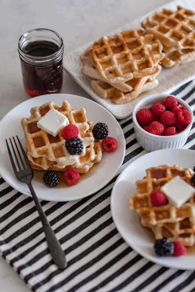 homemade waffles with fruits