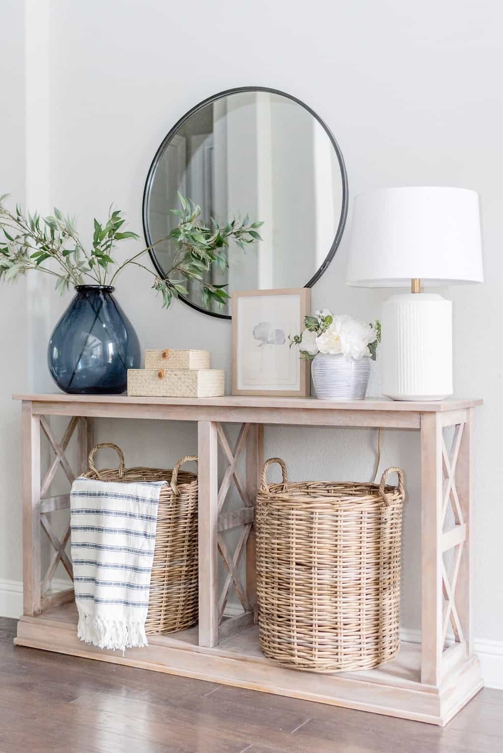 entryway console table with wicker basket storage