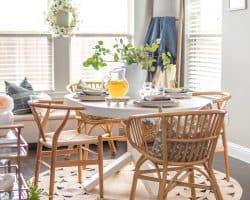 rustic breakfast nook with floral arrangement