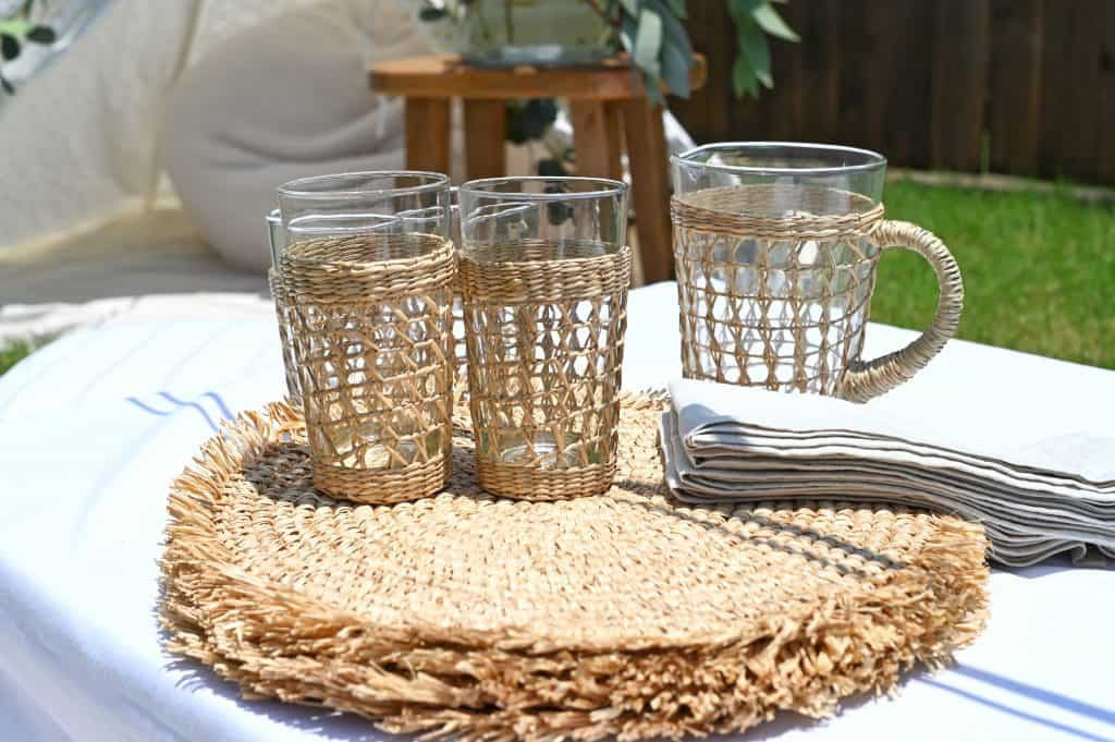 rattan cups for outdoor dining