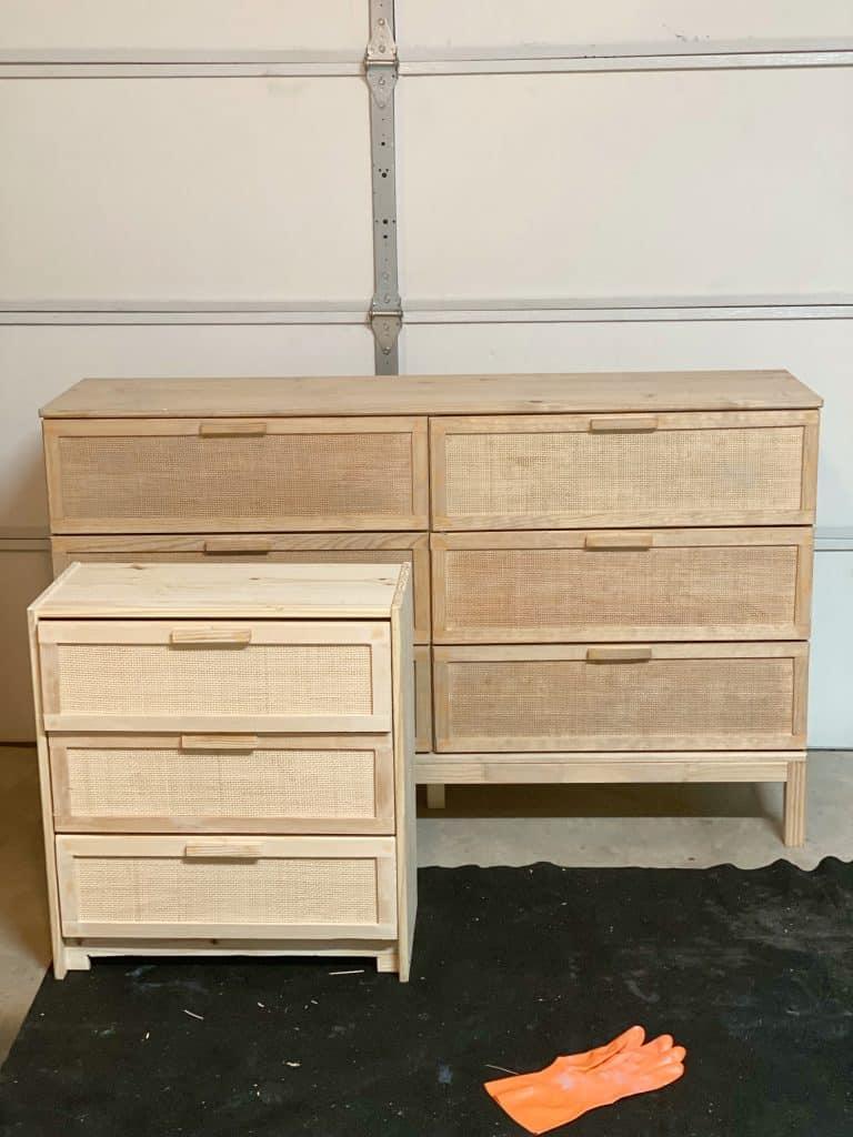 Ikea DIY hack- cane webbing dresser and night stand
