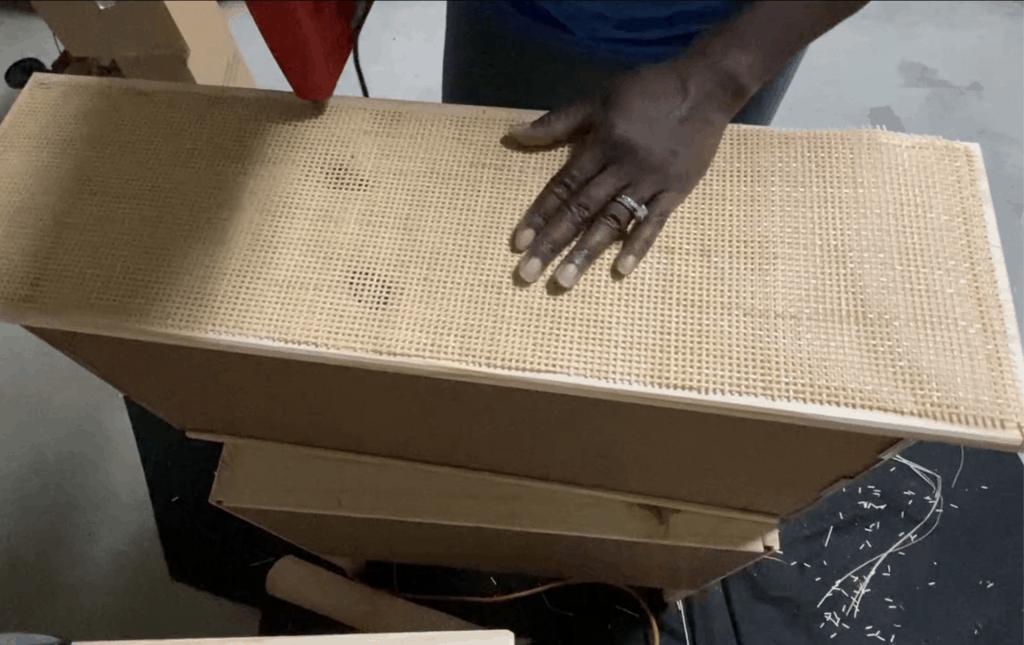 cane webbing dresser DIY hack