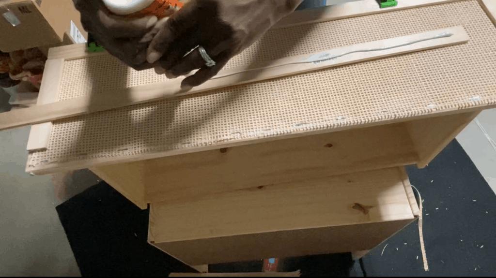 cane webbing dresser hack DIY