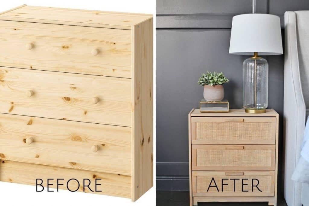 DIY CANE NIGHTSTAND IKEA RAST HACK TUTORIAL