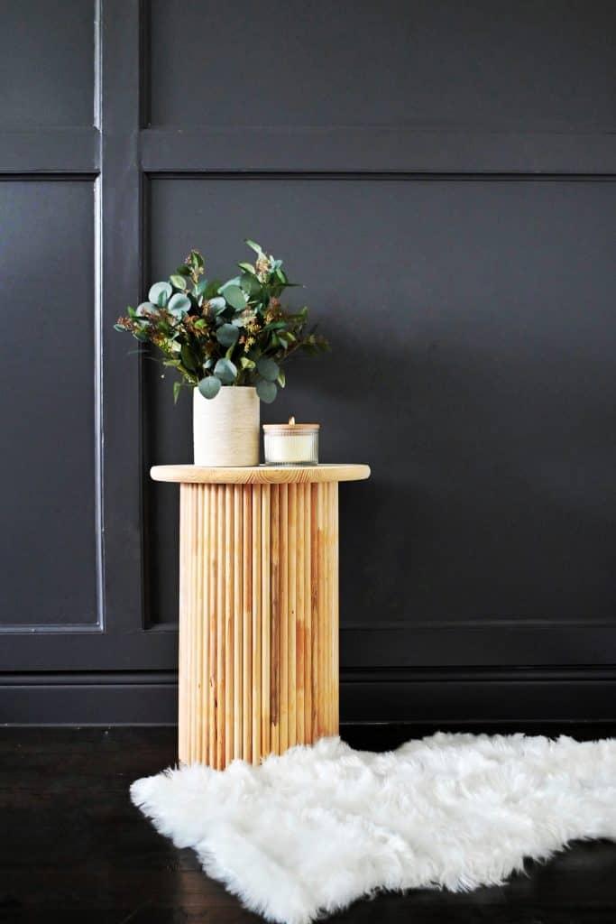 DIY fluted slat table in master bedroom