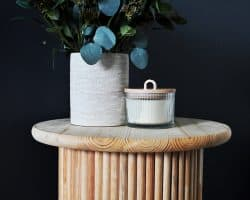 DIY fluted side table in master bedroom