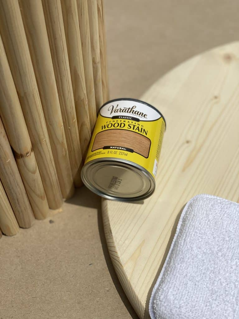 wood stain for DIY slat table