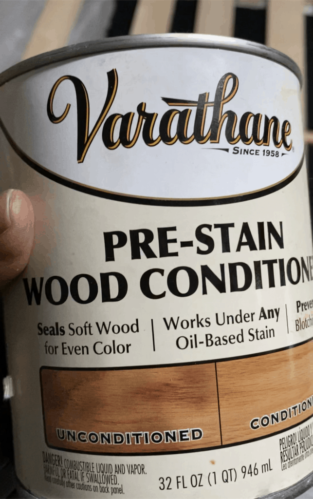 pre stain wood condition for DIY side table