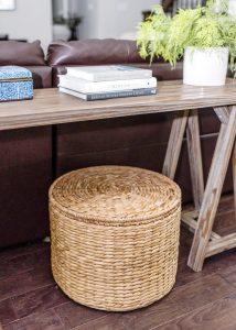Storage basket under the living room table
