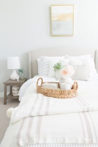 Bed with side table and basket