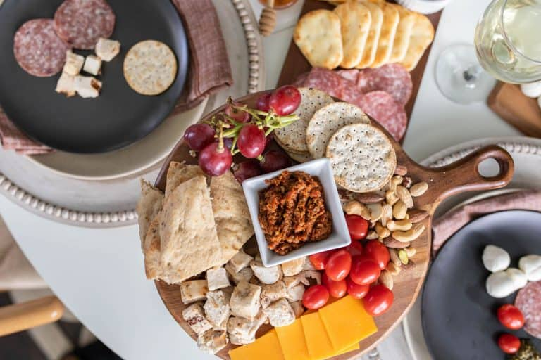 Charcuterie board on table