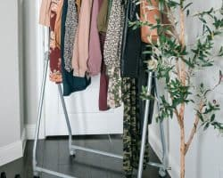 Clothing rack with fall wardrobe