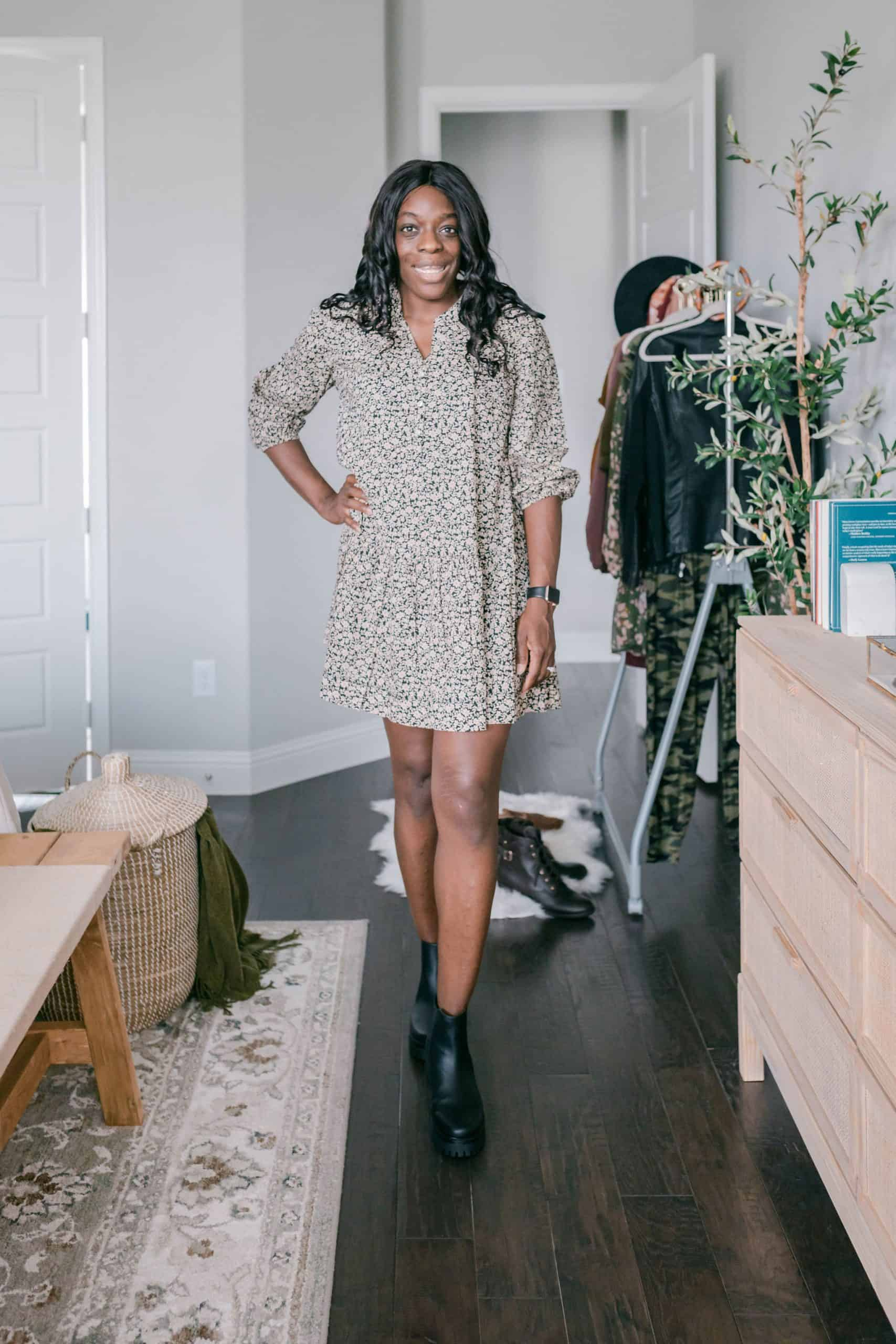 Modeling dress in bedroom