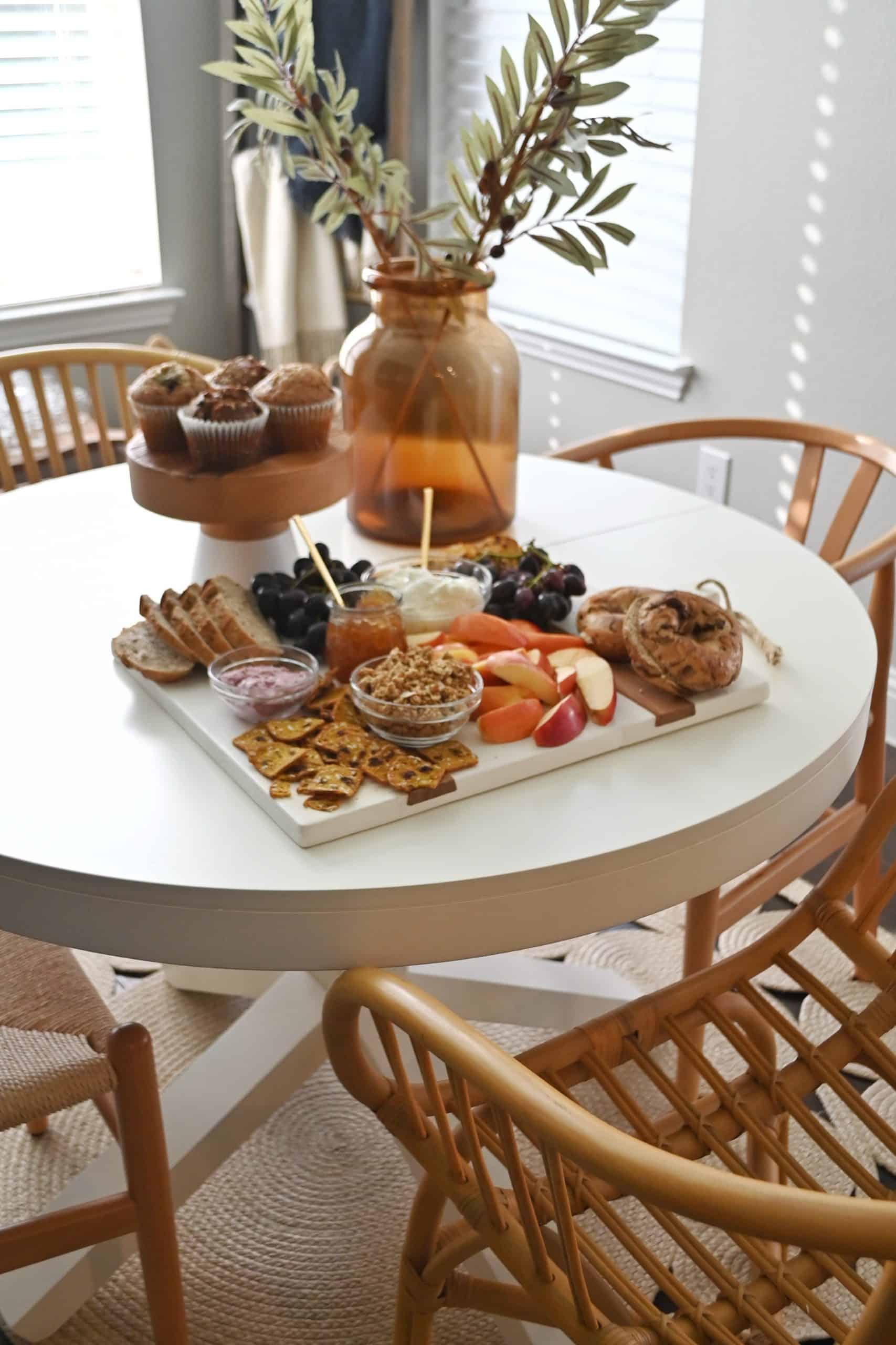 Breakfast board on kitchen table