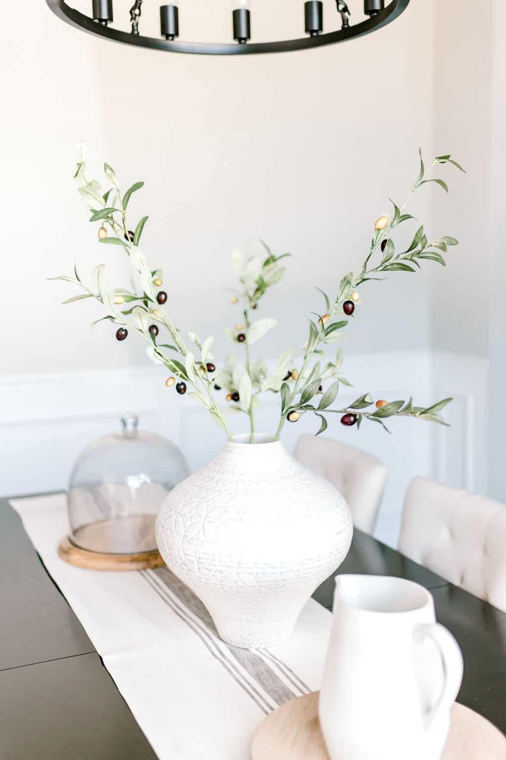 Fall dining room decor fall vase