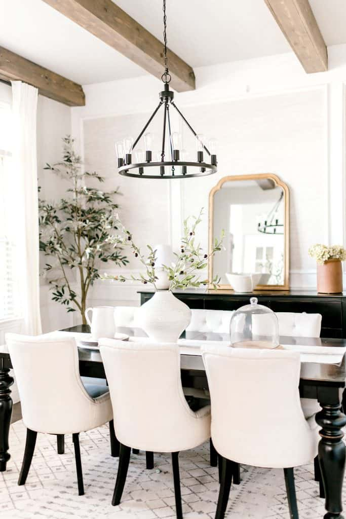 Formal dining room with greenery