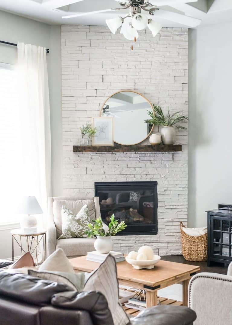 Fireplace mantle in living room